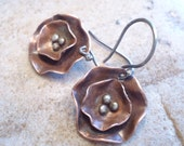 Handmade Copper Flowers with Sterling Stamens Mixed Metal Earrings