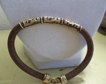 Leather and Brass Bohemien Bracelet