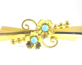 Victorian Revival Brooch 1/120 12k GF Turquoise Glass Beads Signed Adorno