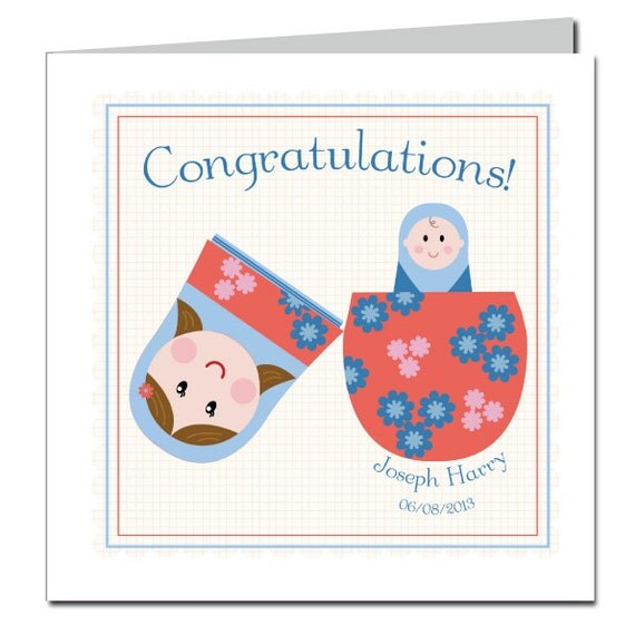 New Baby Congratulations Card - Russian Doll - personalised card - Matryoshka doll card - new baby boy - new baby girl - birth congrats - uk