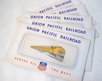 Set of Five Vintage Union Pacific Railroad Ticket Folders