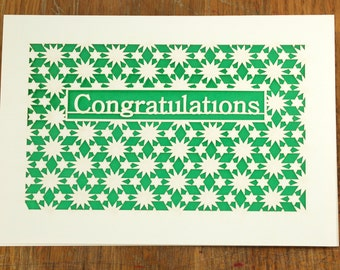 Congratulation surrounded by a burst of Stars, laser cut greeting card