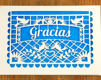 Gracias, Thank You laser cut cards in a Papel Picado style greeting card