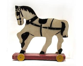 Vintage Horse Wood Pull Toy - Retro Folk Art Toy Horse - Wood Toy Horse - Hand Made Toy Collectable - Play Toy - Flat Body - Wooden Wheels