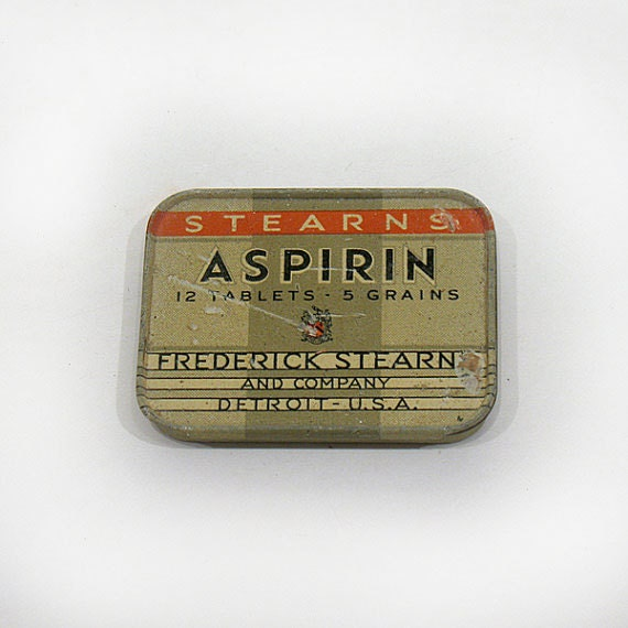 Vintage Aspirin Tin -  Stearn's Aspirin - Advertising Tin - Frederick Stearn and Company - Detroit U.S.A. - Medicinal Tin - Miniature Tin