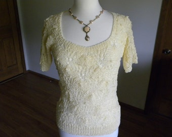 Hand Knit Pullover, Handmade Sweater, Antique White