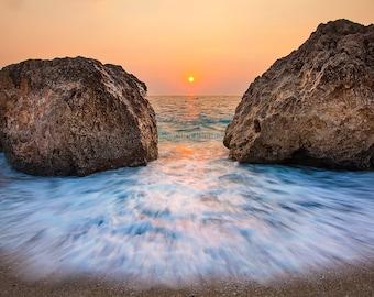 Beach sunset wall art sea sunset landscape, large photo print of a sunset over sea, foamy water, boulders, paradise island, Greece