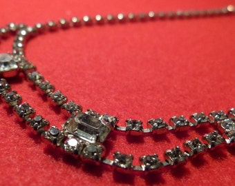 Vintage 1950's Clear Rhinstone Necklace