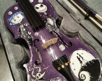 Hand Painted Coraline and Nightmare Before Christmas Tim Burton Inspired Violin
