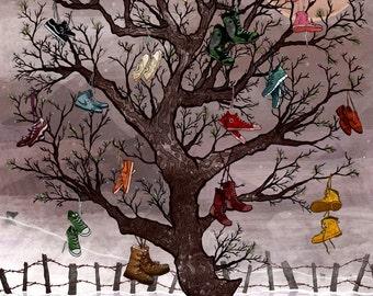 Winter Snow Juniper Shoe Tree Custom Illustration Giclée Print