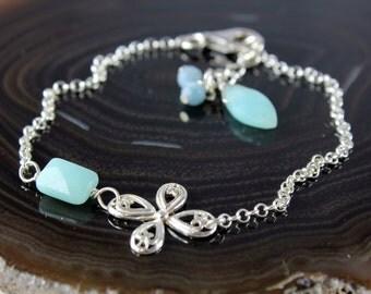 Amazonite bracelet, Sterling Silver bracelet, fine bracelet with light bluish green gemstone and blue jade accents, holiday gift, BR2162