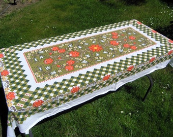 Vintage Floral Checked Tablecloth, Retro 1970s Cotton Checkered Tablecloth, Orange Floral, Green Checks, Hearts Tablecloth, Linens