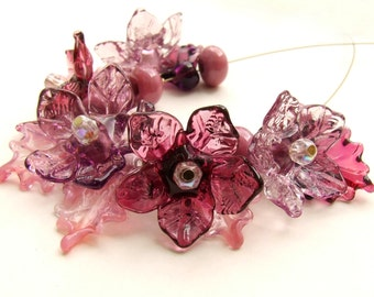 Lampwork Glass Flower Beads for Jewelry Making, A Romantic Bouquet, Set of 17 Amethyst, Wine shades Lampwork Flowers, Made to Order