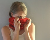 SALE! Red Knit Cowl - Hand Knit Scarf - Large Cowl  -Fall Fashion - Back To School - Autumn - Bright Red - Knit Scarf