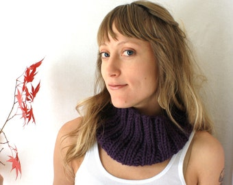 SALE!! Purple Knit Cowl - Hand Knit Scarf - Large Cowl - Wool - Back to School - Fall Fashiont - Autumn - Eggplant