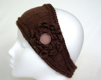 hanmade knitted headband with crochet flower, head wrap, head scarf, ear warmer, Winter fashion, ready to ship, UK seller