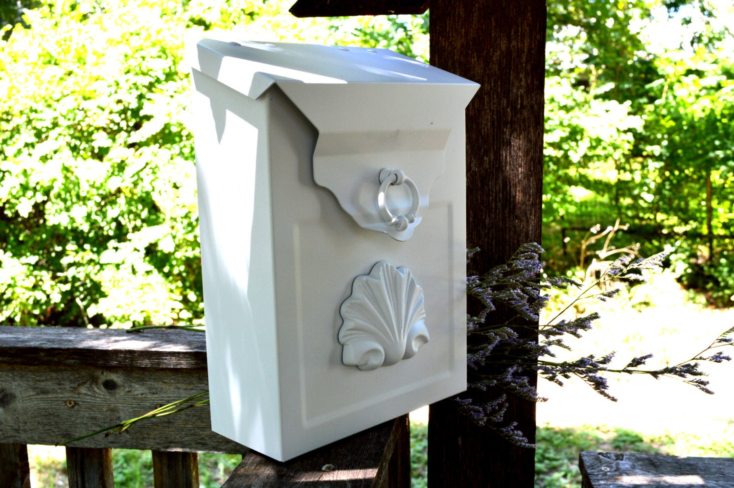 Wall Decor Mailbox : Wedding decor white mailbox metal wall mount or freestanding