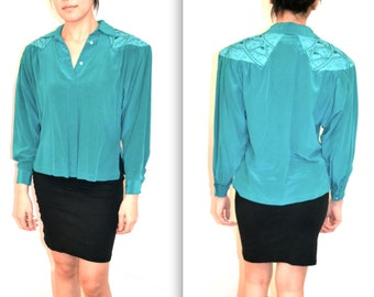 80s Vintage Turquoise blue Silk SHirt SIlk and Leather Shirt Size Small Studded Leather