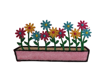 ID #6213 Pink Blue Yellow Flowers in Pot Iron On Embroidered Patch Applique