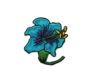 ID #6605 Bright Blue Lily Flower Blossom Iron On Embroidered Patch Applique