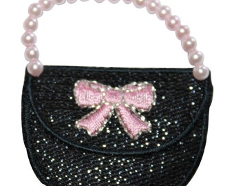 ID #8514 Pearl Bead Handle Ribbon Bow Purse Embroidered Iron On Applique Patch