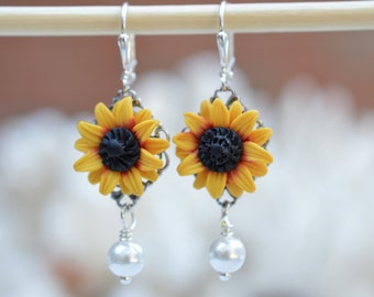 Sunflower and pearl Earrings, Sunflower Flower Jewelry, Yellow-Red Sunflower Earrings,