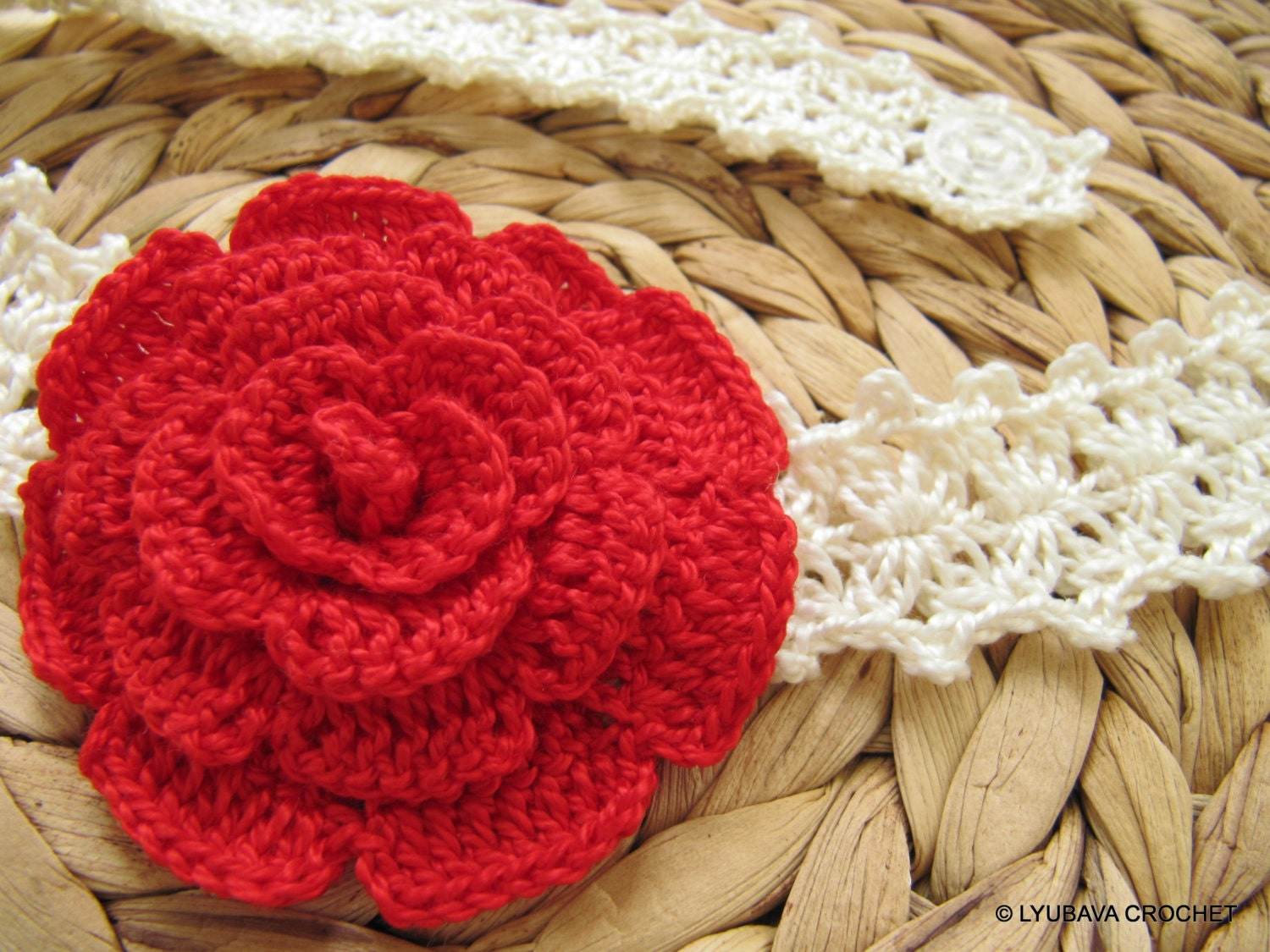 Headband crochet pattern with pretty flower crochet flower pattern headband crochet pattern with pretty flower crochet pattern rose flower headband baby by lyubavacrochet mightylinksfo