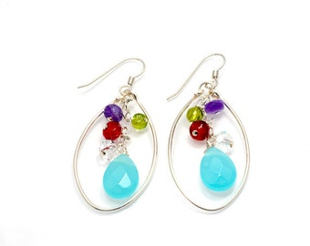 Colorful Gemstone Earrings / hoop earrings / Dainty Earrings / gemstone jewelry/ everyday jewelry