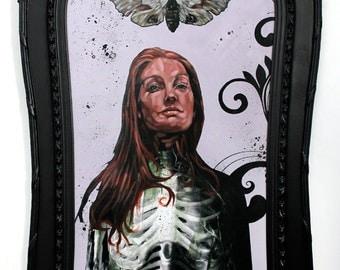 Silence - Original Mixed Media OIL Painting - Woman - SKELETON - Moth - Antique Frame