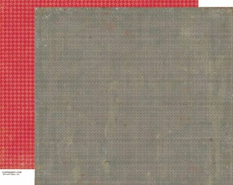 Scrapbook Paper 4 Sheets Grey Chevron - Red Houndstooth - Crate Paper - Random Collection - 12 x 12 Double Sided Paper - Victorian