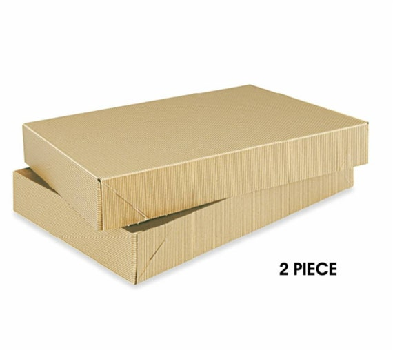 BOXES / Kraft Pinstripe / Stationery Packaging / 10 x 7 x 1.5  inches 2-piece  Set of 10