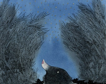 Illustration print of a mole staring at the cosmos.