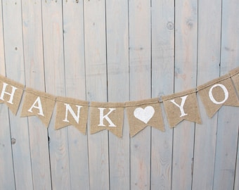Thank You Burlap Banner, Thank you with heart banner,  Wedding sign, Photography prop - garland