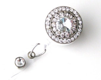 Crystal Bling - Rhinestone Badge Holder - Unique Retractable Badge Reels - Stylish ID Badge Clip - Nurse Jewelry - RN Badges - BadgeBlooms