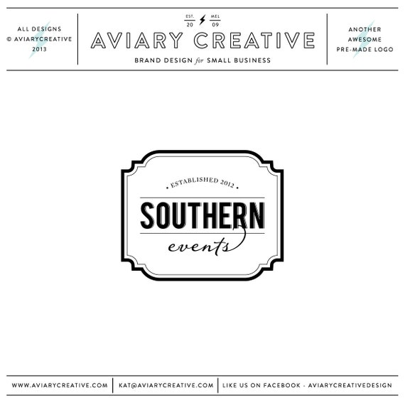 "Boutique Premade Logo Design ""Southern Events"""