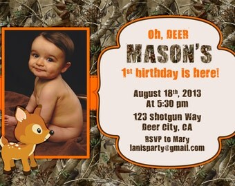 Camo Birthday Invitations - Oh Deer Buck Hunting Boy 1st First Invites Camouflage Woods Orange Green Blue - Printable Digital