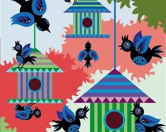Bird House Blue art print