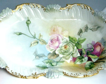 Antique Beautiful Roses Large French Platter Serving Dish Plate