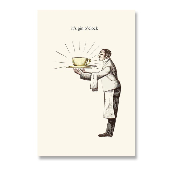 Funny Birthday Card . It's Gin O'clock . Greeting