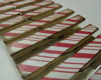 Peppermint candy cane Christmas holiday decoupage theme clothespins set of 10 red and white candy cane stripe