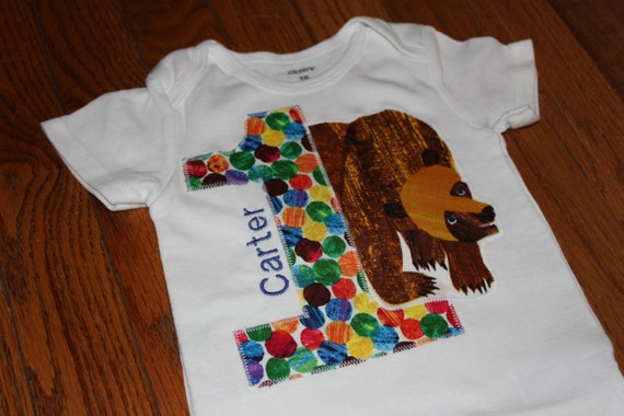 Brown Bear Birthday shirt - Boy or Girl - your choice of number