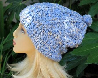 Hand Knit, Light, Sky Blue, Cream Flecks, Acrylic/Polyester/Cotton, Slouchy, Over Sized, Rib Knit Beanie Hat Small Shaggy Pom Pom Man Woman