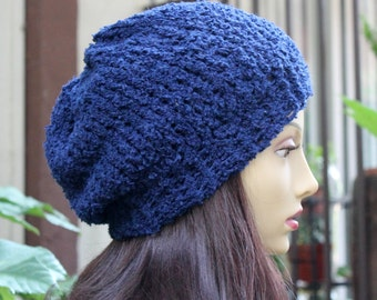 Hand Knit, Dark Blue, Acrylic, Soft, Nubby, Slouchy, Beanie Hat with a Two Inch Headband Man Woman Fall Winter Back to School