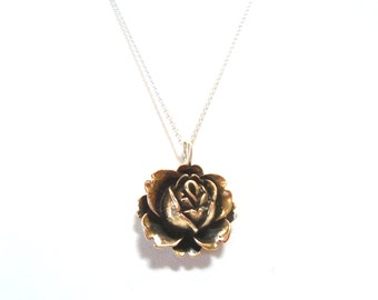 Boxing Day Sale. Sterling Silver/Bronze Rose Necklace