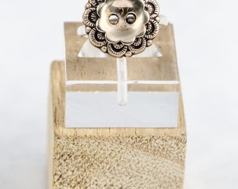 Vintage Style Button Ring -Any Size