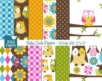 SALE Baby Owl Papers - Digital Scrapbook Papers - card design, invitations, stickers, paper crafts, web design - INSTANT DOWNLOAD