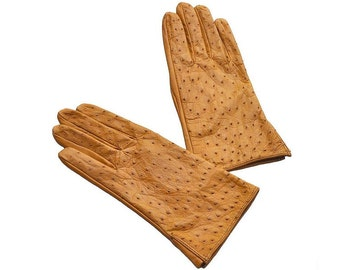Women's leather gloves. Ostrich skin. C227-1-330. Different Sizes.