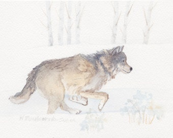 Wolf 4 Running Across the Lamar in Yellowstone National Park Original Painting