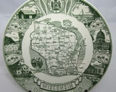 Vintage Wisconsin State Plate Kettlesprings Kilns Green and White