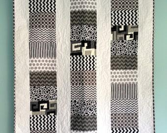 Black White & Gray Modern Coin Baby Quilt-Custom